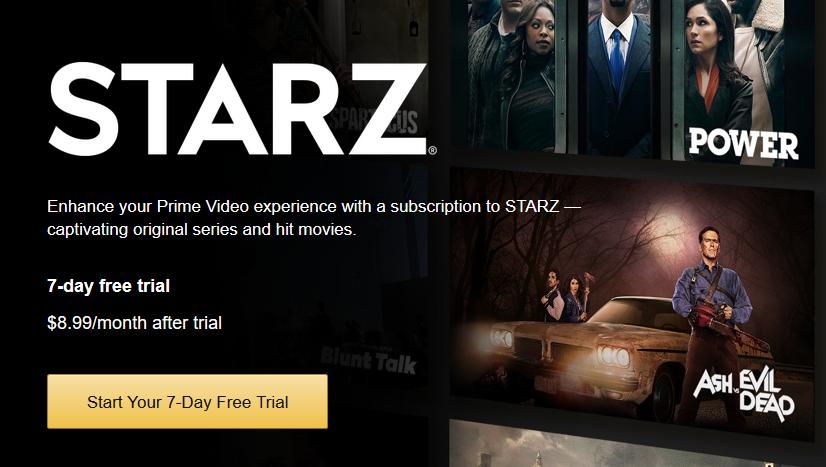 Starz 7-Day Free Trial On Amazon Prime