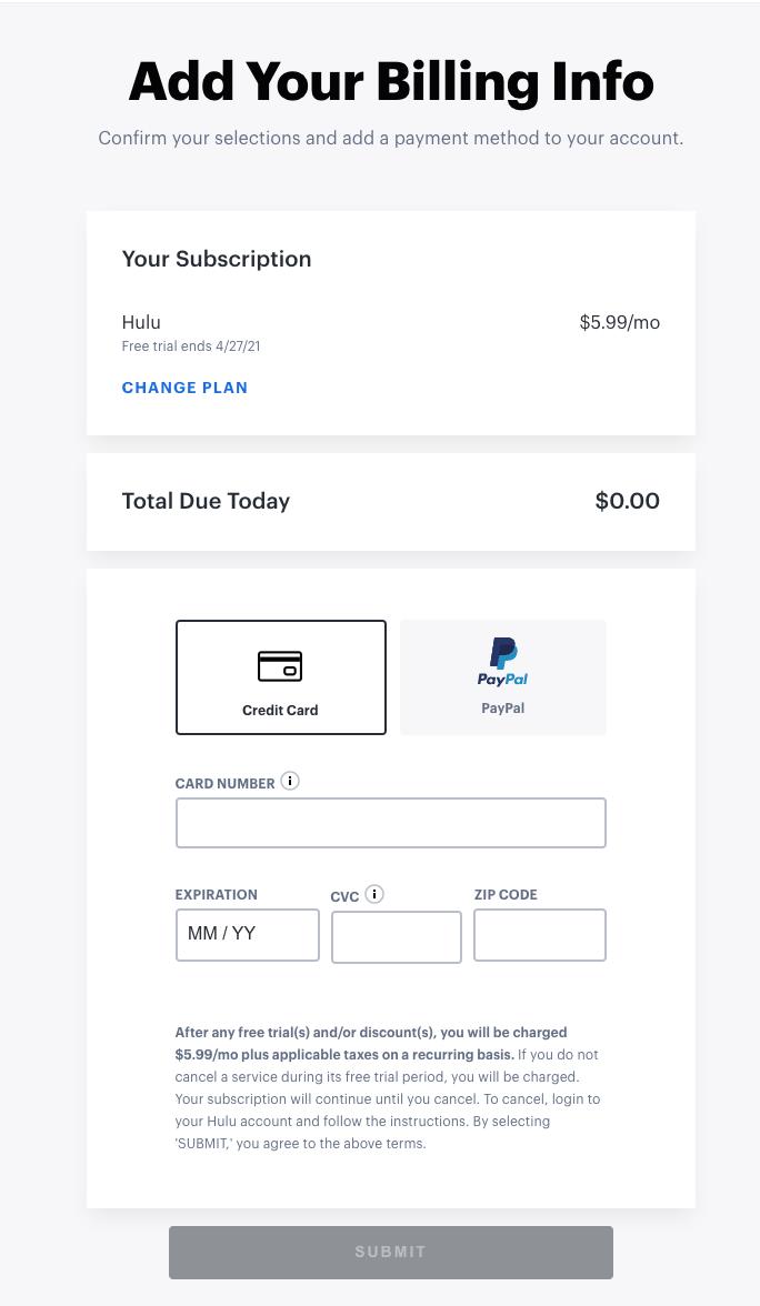 Add Billing Info