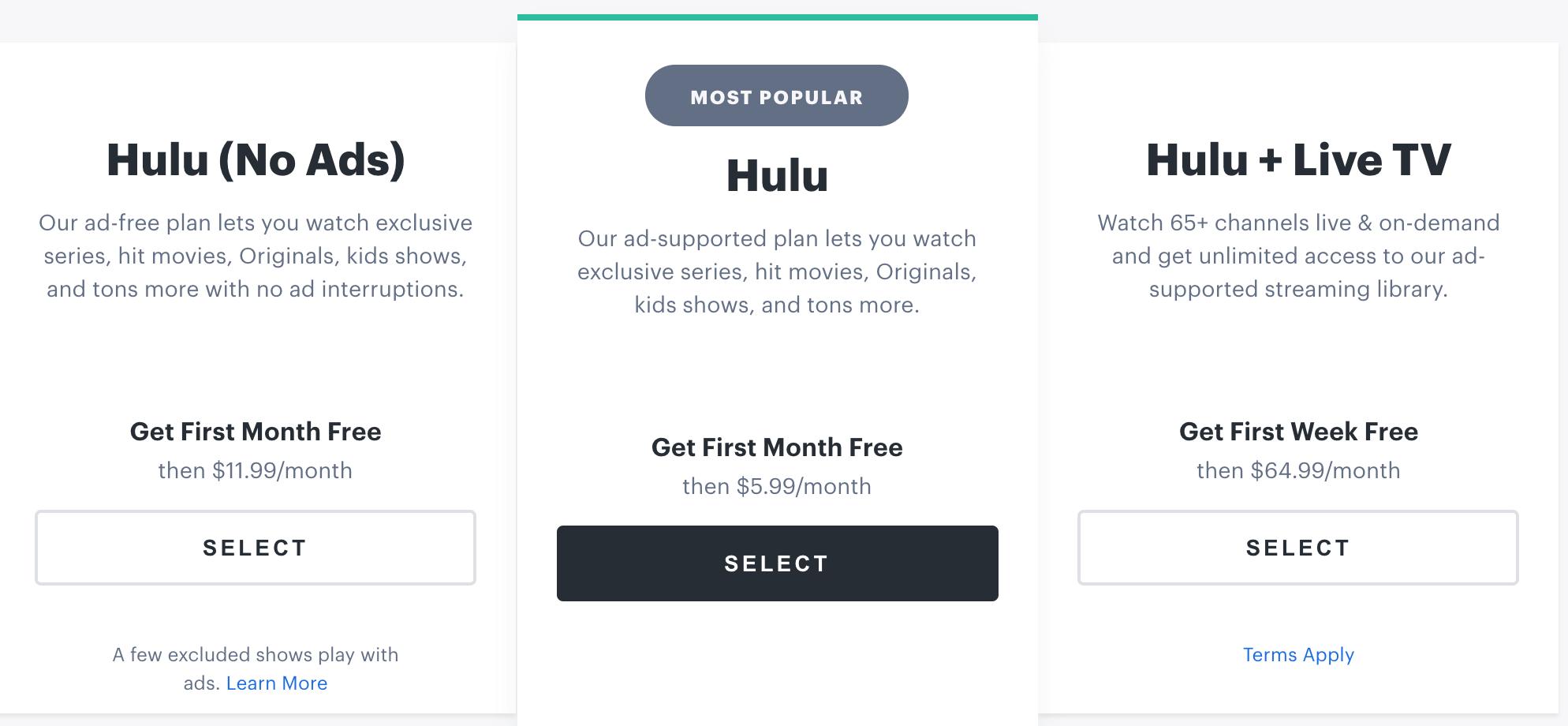Hulu Plans
