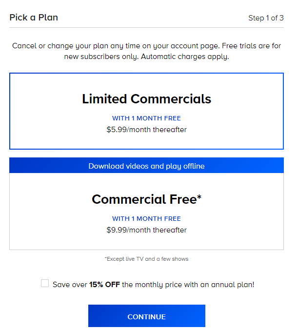 Limited commercials