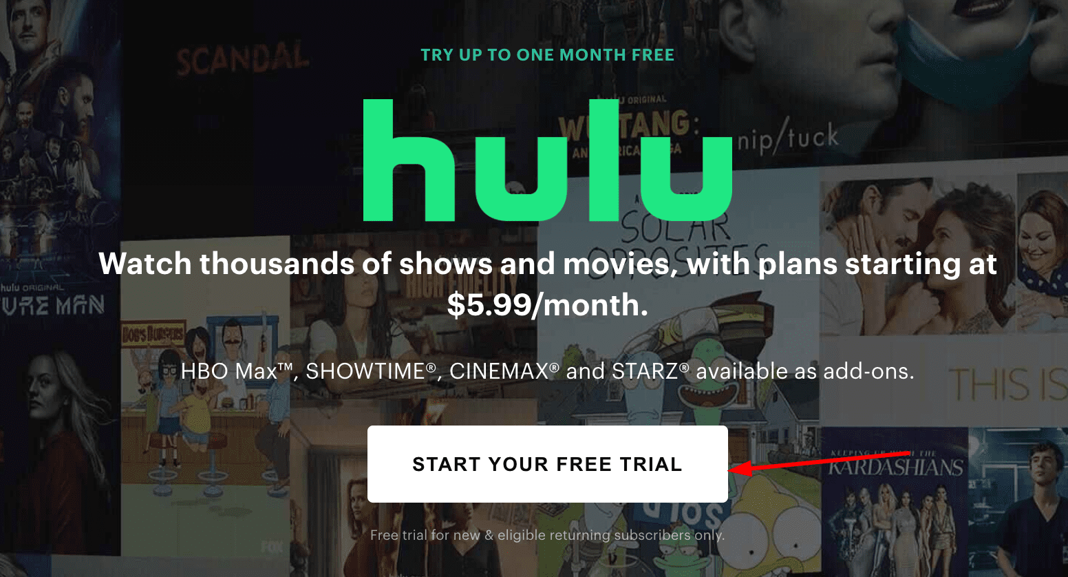 Start Your Free Trial On Hulu