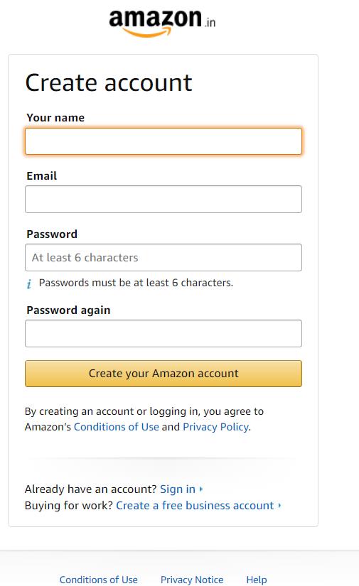 Create Account On Amazon