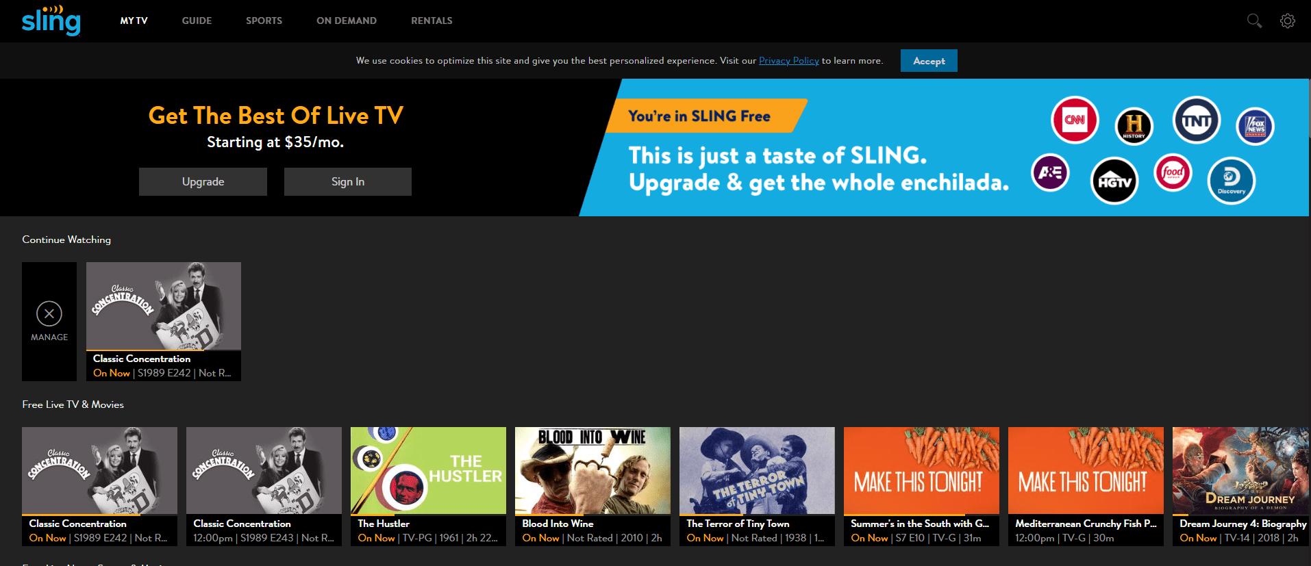 Sling TV watch vedio