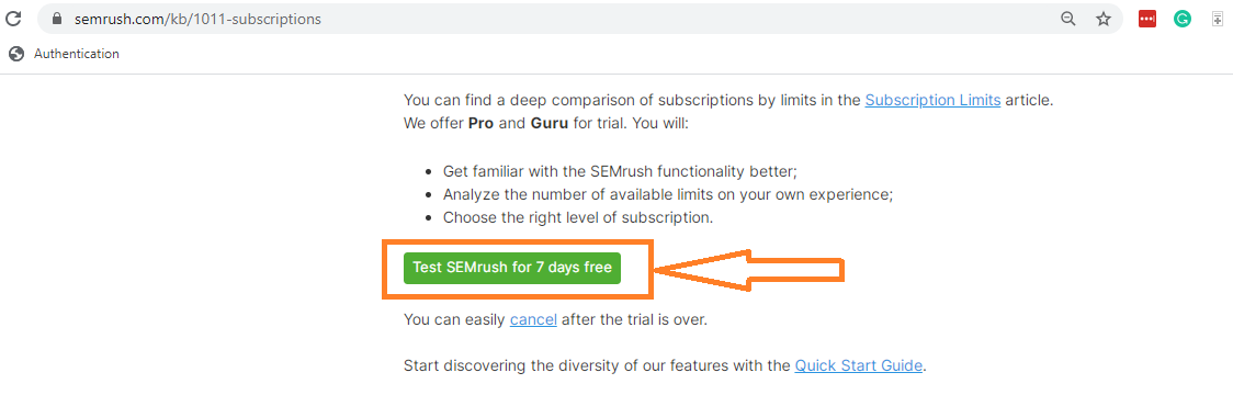 7 day free trial on Semrush