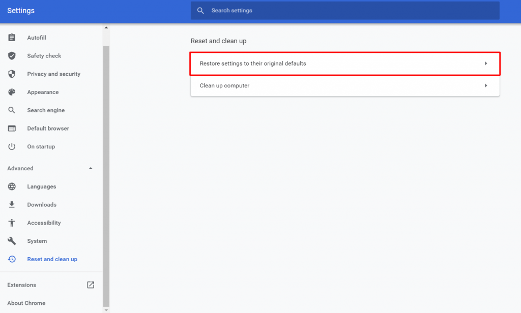 Click On Advanced Settings In Chrome
