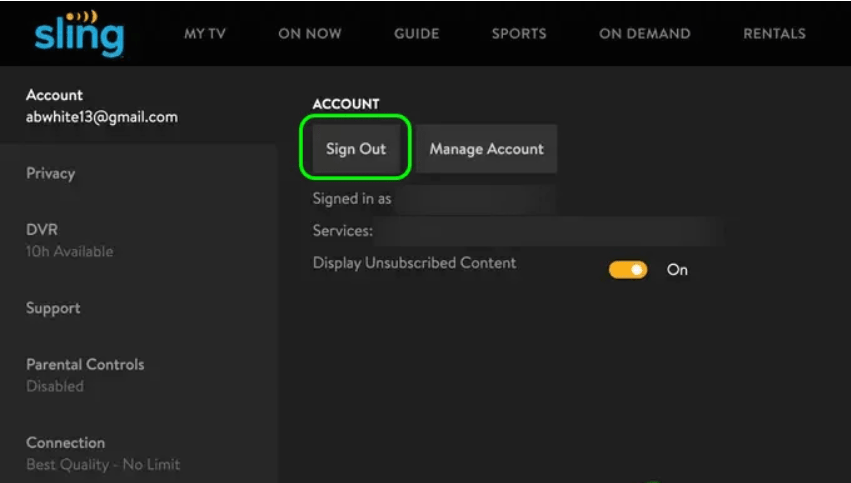 Sign Out From Sling TV